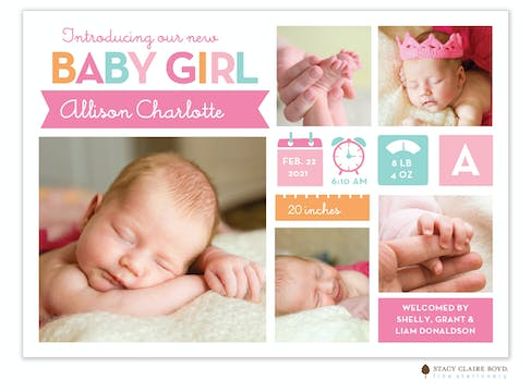 Bright Arrival Photo Birth Announcement