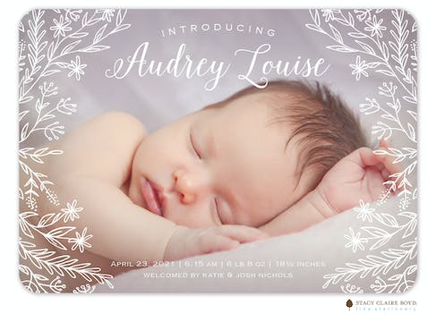 Trailing Edges Photo Birth Announcement