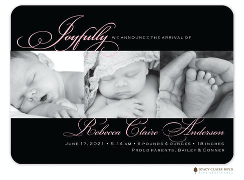 Elegant Moments Photo Birth Announcement