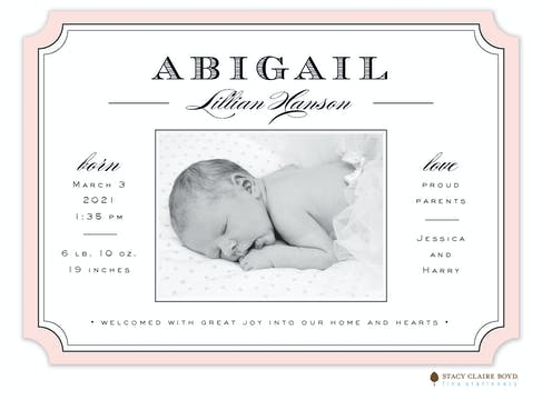 Classic& Clean Photo Birth Announcement