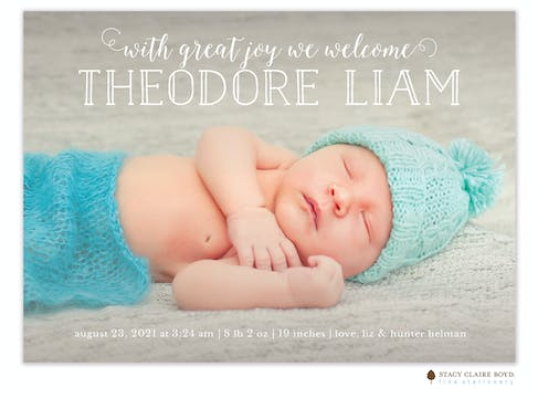Bright Introduction Photo Birth Announcement