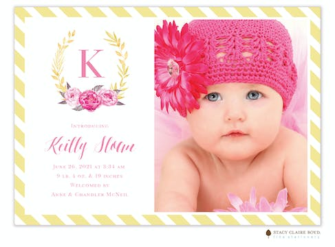 Brightest Bloom Photo Birth Announcement