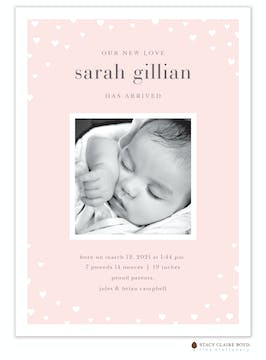 New Love Photo Birth Announcement