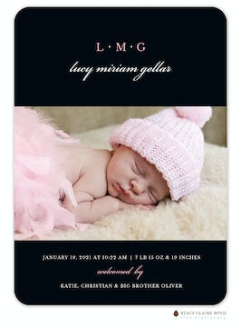 Classic Simplicity Photo Birth Announcement