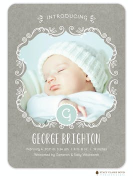 Icing On Top Photo Birth Announcement