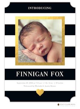 Modern Heart Gold Photo Birth Announcement