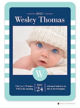 Bright Stripes Photo Birth Announcement