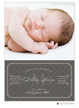 Sophisticated Storybook Photo Birth Announcement