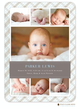 Perfectly Plaid Photo Birth Announcement