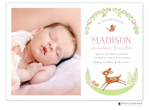 Woodland Wonder Photo Birth Announcement