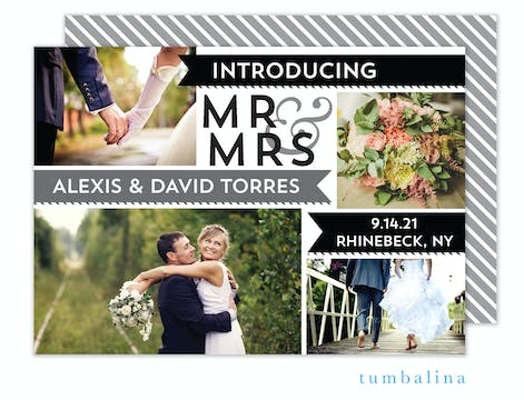 Mr & Mrs Banners Gray Photo Marriage Announcement