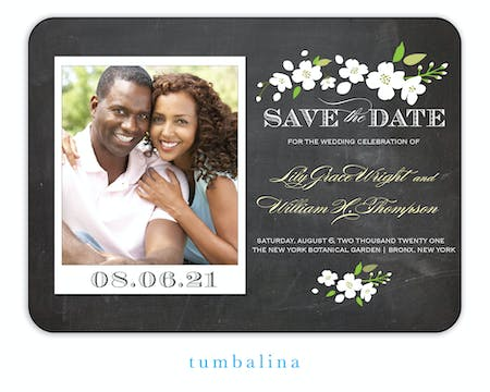 Enchanted Floral Chalkboard Snapshot Photo Save The Date Magnet