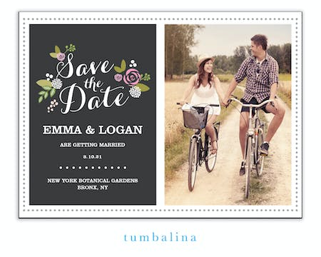 Floral Slate Photo Save The Date Magnet