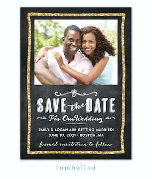 Glitter Chalkboard Photo Save The Date Magnet