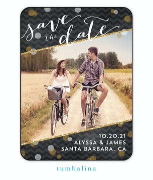 Glitter Chevron Photo Save The Date Magnet