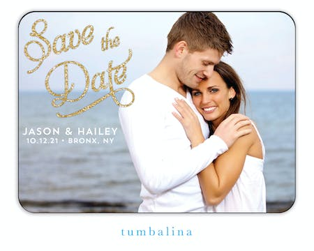 Elegant Glitter Photo Save The Date Magnet