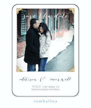 Glitter Photo Corners Photo Save The Date Magnet