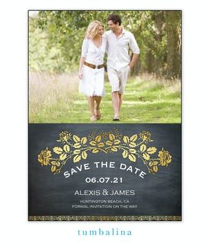 Gold Laurel Chalkboard Photo Save The Date Magnet