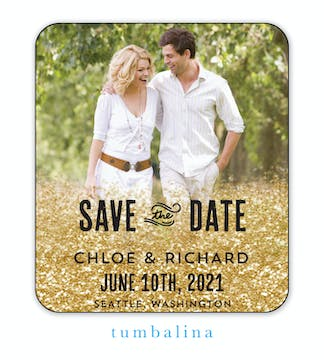 Spilled Glitter Photo Save The Date Magnet