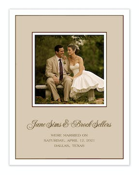 Classic Edge White & Chocolate On Latte Flat Photo Card
