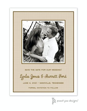 Linen Latte Flat Photo Save The Date Card