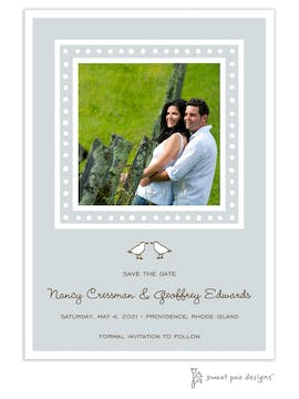 White Dotted Border Silver Flat Photo Save The Date Card