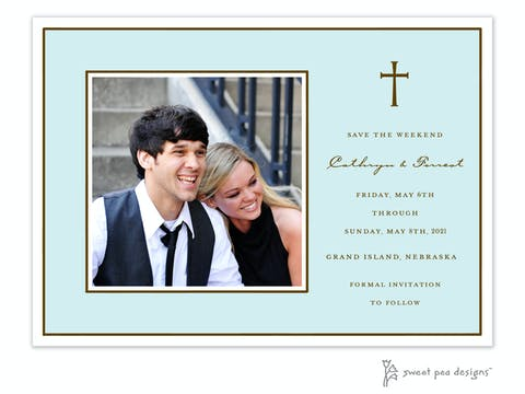 Classic Edge White & Chocolate On Aqua Flat Photo Save The Date Card
