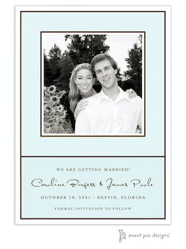 Linen Aqua Flat Photo Save The Date Card