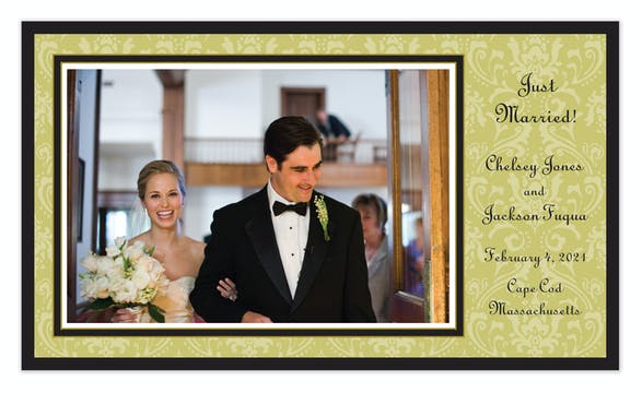Damask Olive On Olive Flat Photo Card