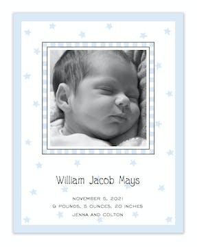 Stars & Checks Flat Photo Birth Announcement
