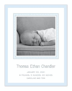 Dotted Border Blue & Silver Flat Photo Birth Announcement