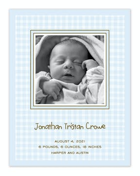Gingham Blue Flat Photo Birth Announcement