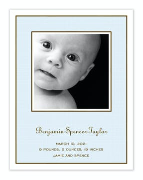 Linen Blue Flat Photo Birth Announcement