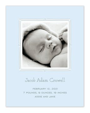 Vintage Frame Blue & Silver Flat Photo Birth Announcement