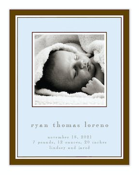Simple Border Chocolate On Blue Flat Photo Birth Announcement