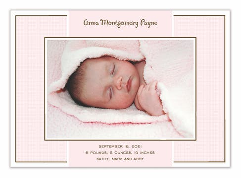 Linen Pink Flat Photo Birth Announcement