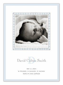 Simple Edge Blue Flat Photo Birth Announcement