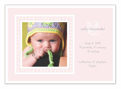 White Dotted Border Pink Flat Photo Birth Announcement