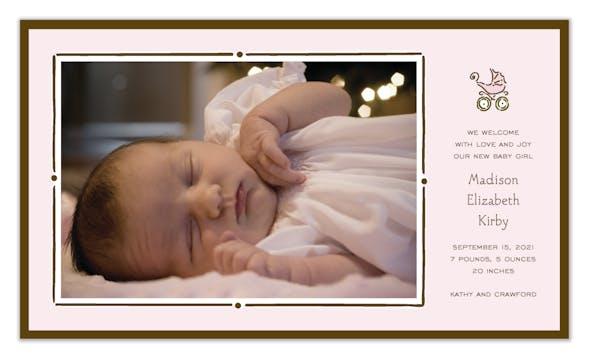 Vintage Frame Pink & Chocolate Flat Photo Birth Announcement