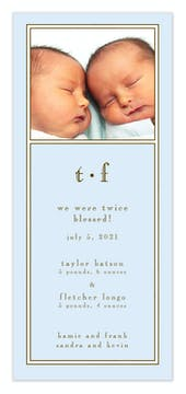 Classic White Border On Pastel Blue Flat Photo Birth Announcement