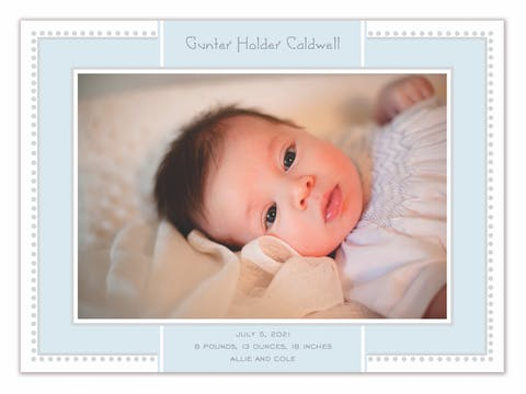 Antique Border Blue Flat Photo Birth Announcement