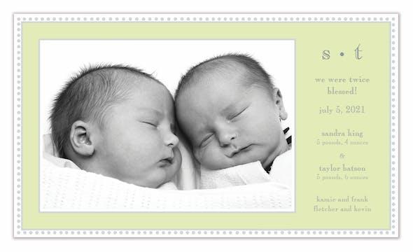 Antique Bead Border Lime Print & Apply Flat Photo Birth Announcement