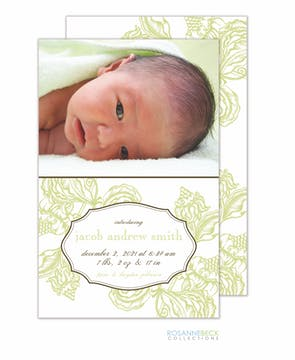 Woodcut Floral Photo Card - Lime Photo Birth Announcement
