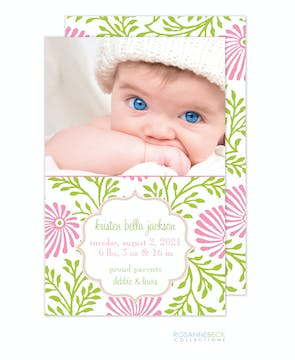 Lime Floral - Pink Girl Photo Birth Announcement
