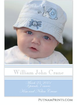 Blue & Grey Bands Flat Photo Card
