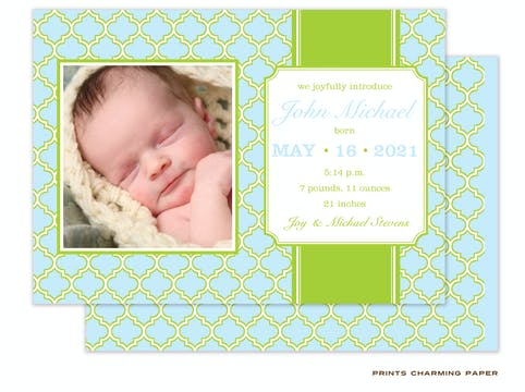 Blue Baby Boy Photo Birth Announcement