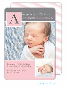 Baby Monogram Pink Photo Birth Announcement