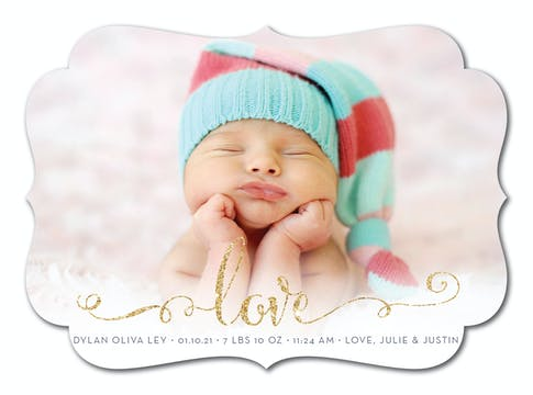 Glowing Love Baby Foil Pressed Photo Birth Announcement