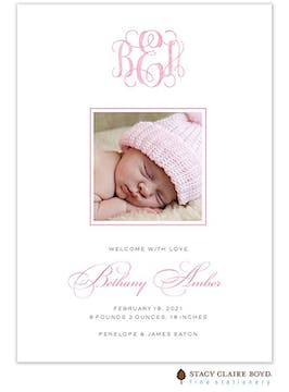 Sweet Welcome - Pink Girl Photo Birth Announcement