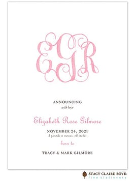 Powdered Monogram - Pink Girl Birth Announcement